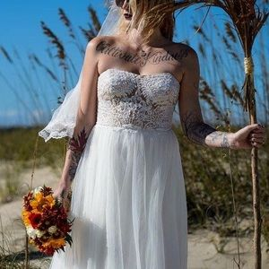 David's Bridal Wedding Gown with Beaded Bodice